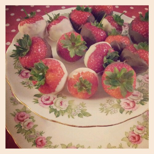 The Simple Things & Strawberries dipped in chocolate.