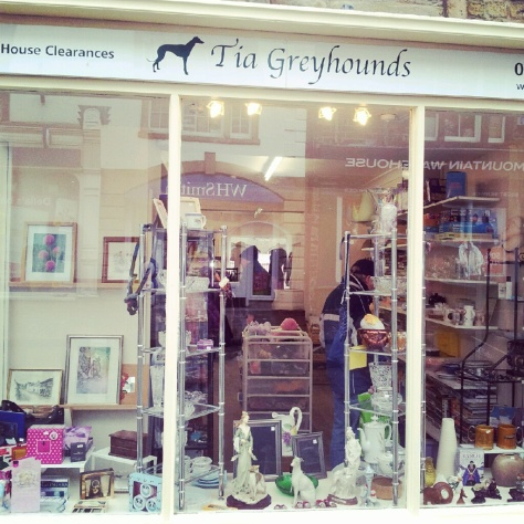 Tia Greyhound rescue charity shop on the High street.