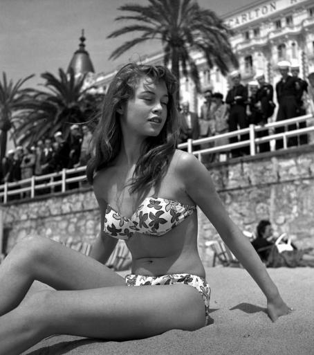 Brigitte Bardot on the beach in Cannes.