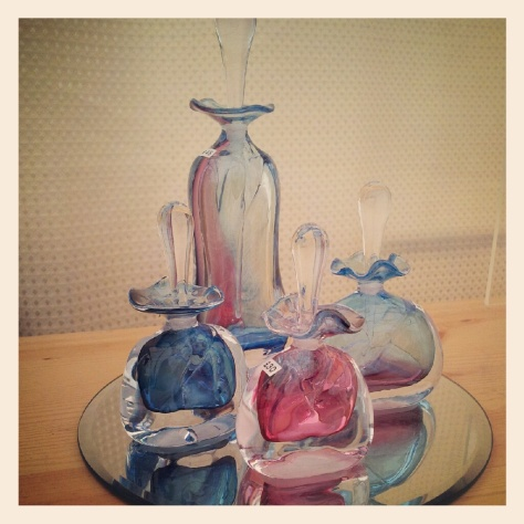 I love these Beautiful hand blown perfume bottles created by the artists E & M Glass.