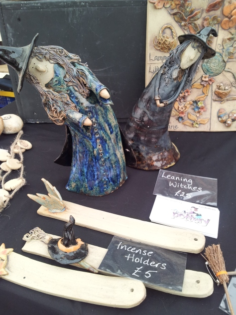 Leaning witches made by Pendle Ceramics.