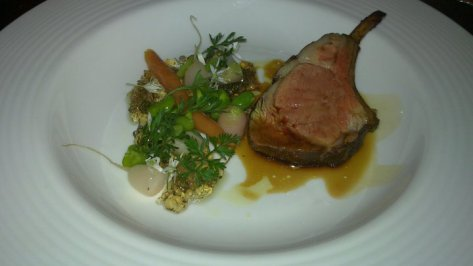 Lamb with mint jelly.