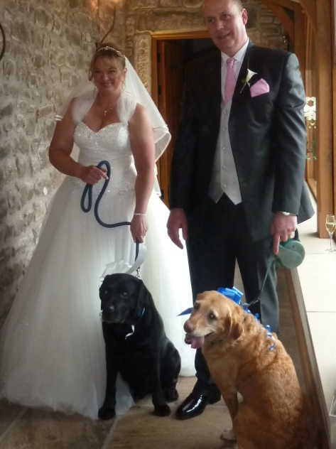 The Happy Couple and their beloved labradors.:)