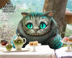 The Cheshire Cat looking a little toothsome in Tim Burton's adaptation of Alice In Wonderland. This cat creation obviously has good taste in tea. :)