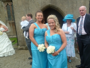 Bridesmaids in Blue.