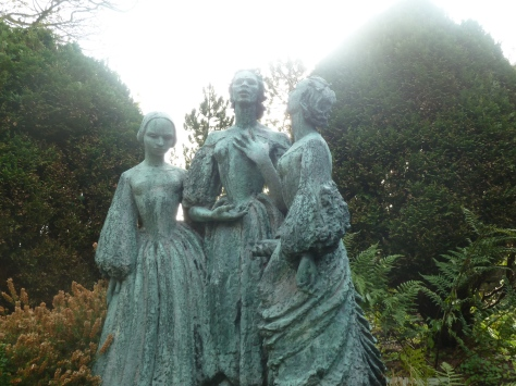Statues of the Bronte sisters.
