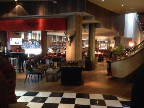 Our destination was the Malmaison Hotel, Piccadilly. Here is the bar area.