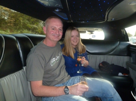 Our transport to Manchester was a stretch  Limo. We had champagne!