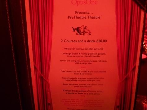 The Pre-theatre Dinner Menu.