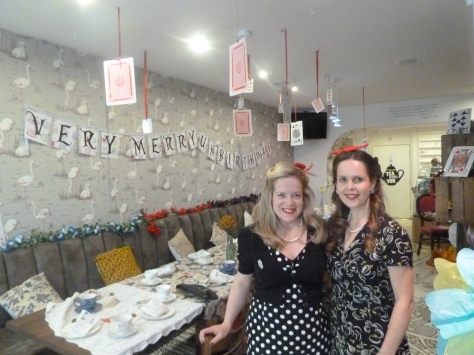 My sister and I before the guests arrived at my very merry unbirthday party.
