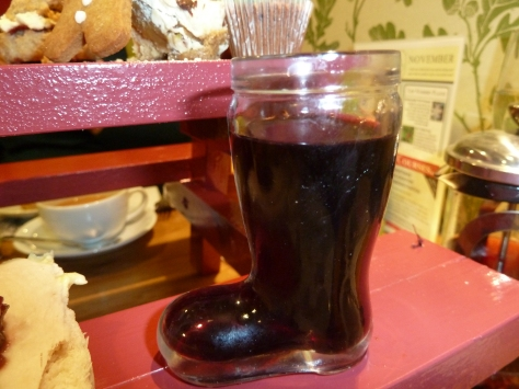 Mulled Wine served in a wellie boot. :)