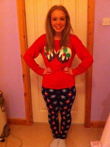 Amy in her festive pj bottoms and  Christmas Puds jumper from Primark.