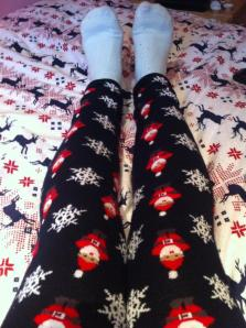 The Pjs are covered in santas and snowflakes. :)