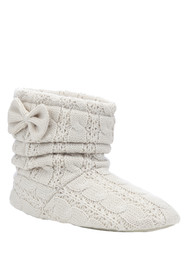 Totes-Toasties-Bow detail bootie slippers. Florence and Fred £22.