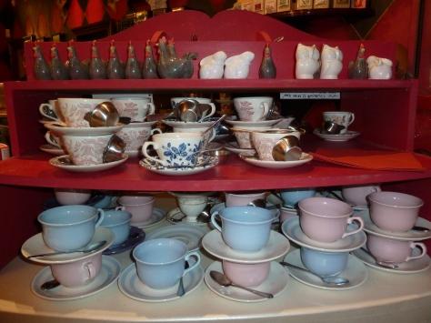 Tea cups galore.