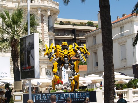 Giant Transformer 'Bumblebee' in Cannes.