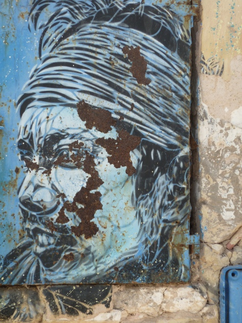 Blue wall art, Essaouira, Morocco.