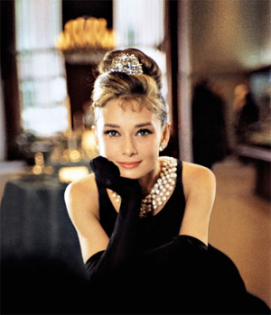 Audrey as Holly Golightly in Breakfast at Tiffanys.