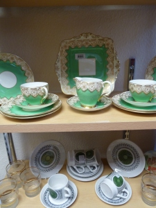 Into town and I saw these pretty green beauties in a charity shop. Gorgeous!