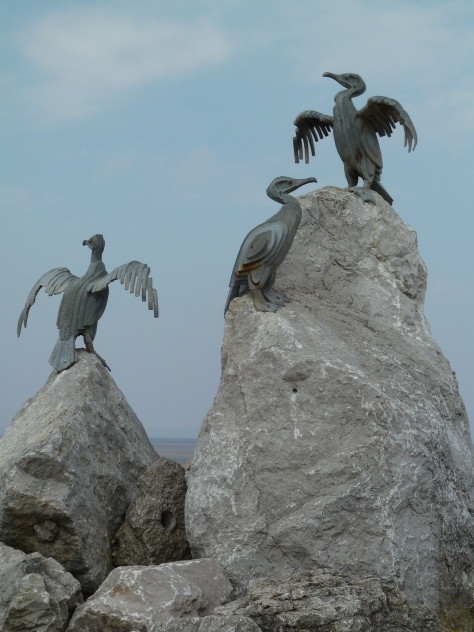 Quirky seabird sculptures adorn the promenade in Morecambe.