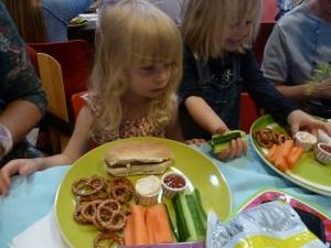 The kids enjoyed veggie hot dogs,pretzels, veggies and dips.