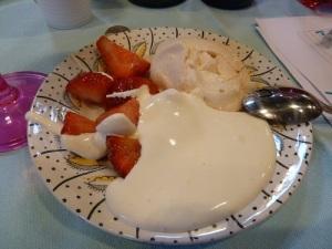 Strawberries, meringue and cream. Mmmmmm. :)