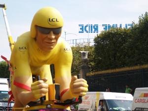 Part of the crazy colourful Caravan of the Tour de France on Sunday.