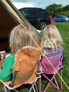 The little uns keeping comfy while the grown ups pack up camp ( Sunday).