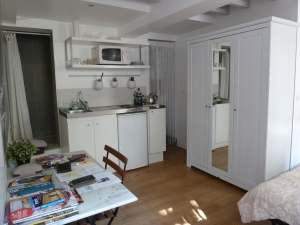 Inside our cozy and compact basement apartment.