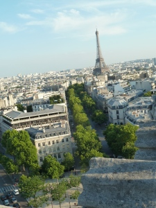The Eiffel Tower ,from the top of the Arc de Triomphe.