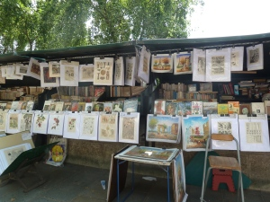 Pavement art stalls by the river.