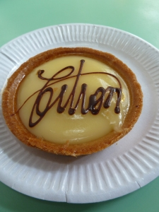 A delicious lemon tart in a cafe ~ Montmartre.