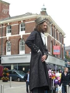 Stilt walker 'Long Legged Larry'.