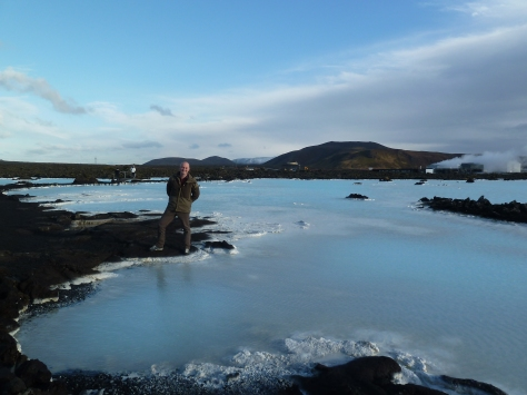 Wil on our lava field walk where there are more geothermal waters.