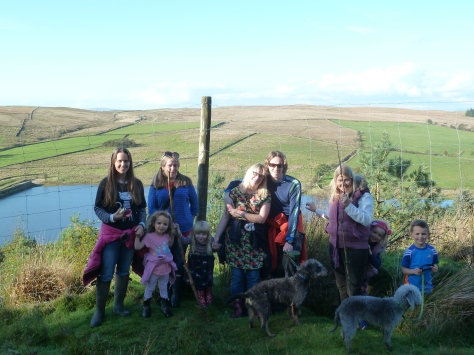 Four kids, two Bedlington terriers and a few of the grown ups. :)