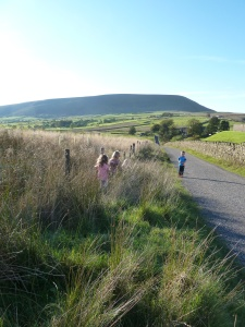 Heading back with views of pendle.