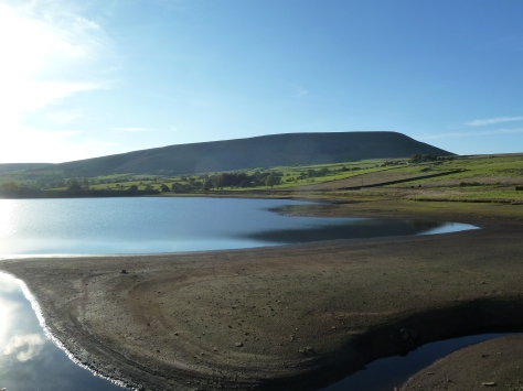 pendle Hill from Black Moss reservoirs.
