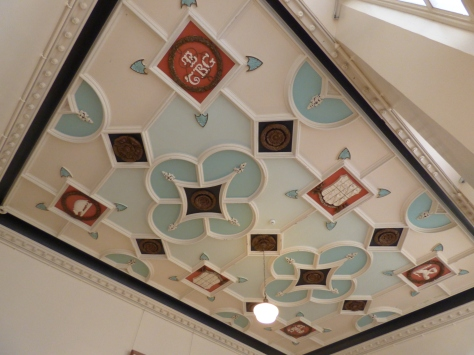 Ornate ceiling tiles in the coffee lounge area.