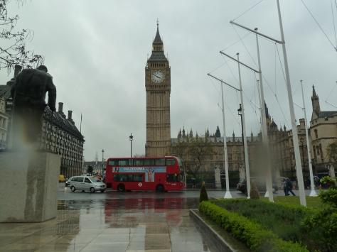 Big Ben in the London rain.