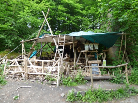 Wood carvers shack in Strid Wood.