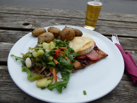 Heritage beetroot and goat's cheese tart with  salad and new potatoes. My delicious tea at the Craven Arms.