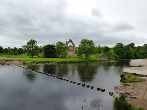 Bolton Abbey and stepping stones.I  was too scaredy to cross them.