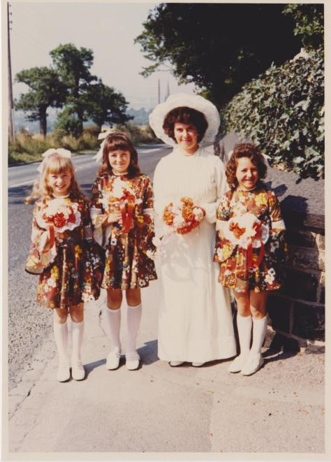 Mum with her bonnie bridesmaids.