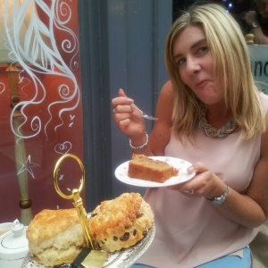 Gill enjoying her coffee and walnut cake.