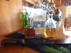 Original haul from the shipwreck now on display in the Am Politician Bar. Looks like someone's had a couple of wee drams!